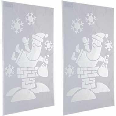 2x kerst raamsjablonen/raamversiering kerstman plaatjes 54 cm