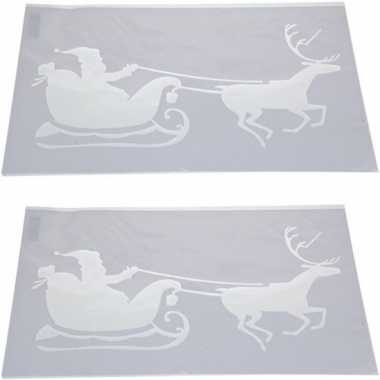 2x kerst raamsjablonen/raamversiering kerstman slee plaatje 54 cm