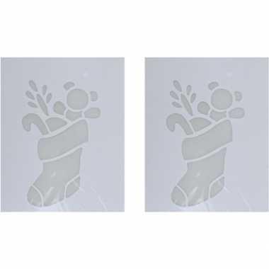 2x kerst raamsjablonen/raamversiering kerstsok plaatjes 35 cm