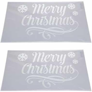 2x kerst raamsjablonen/raamversiering merry christmas plaatjes