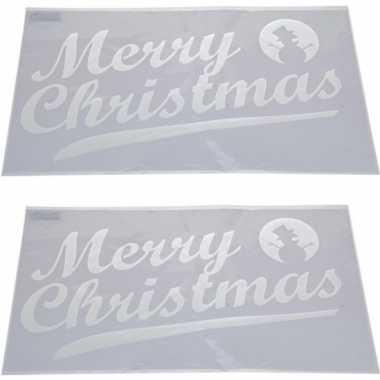 2x kerst raamsjablonen/raamversiering merry christmas tekst 54 cm