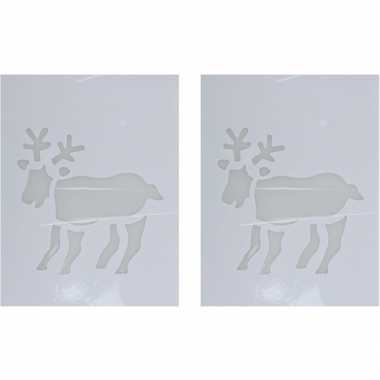 2x kerst raamsjablonen/raamversiering rendier plaatjes 35 cm