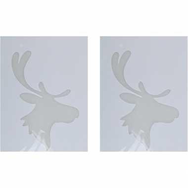 2x kerst raamsjablonen/raamversiering rendierhoofd plaatjes 35 cm