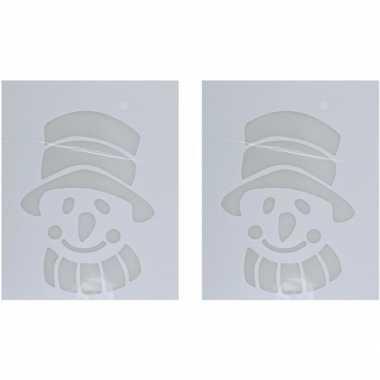 2x kerst raamsjablonen/raamversiering sneeuwpop hoofd 35 cm