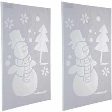 2x kerst raamsjablonen/raamversiering sneeuwpop plaatjes 54 cm
