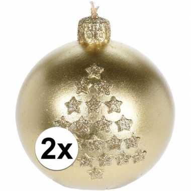 2x kerst versiering kaars gouden kerstballen