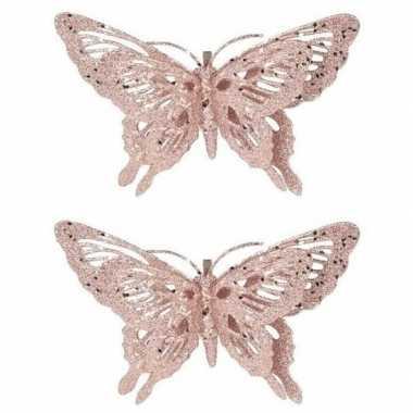 2x kerst versiering vlinder roze 15 x 11 cm