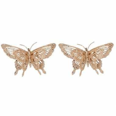 2x kerst versiering vlinders goud 15 x 11 cm