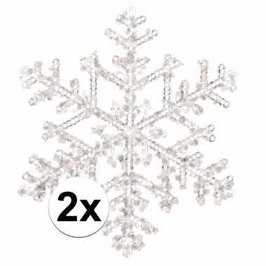 2x kerstboom versiering sneeuwvlok hangers 18 cm transparant