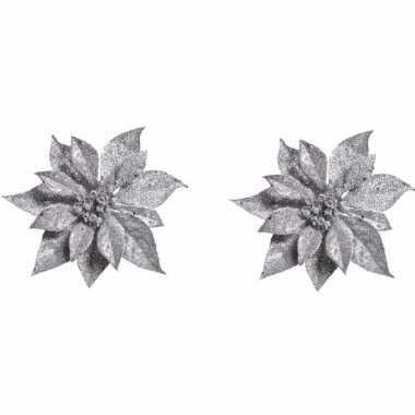 2x kerstboomversiering bloem op clip zilveren kerstster 18 cm