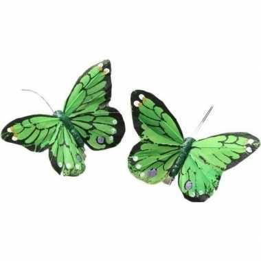 2x kerstboomversiering lichtgroene/witte vlinders op clip 9 x 11