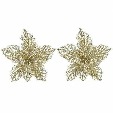 2x kerstboomversiering op clip gouden glitter bloem 23 cm