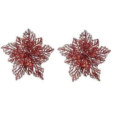 2x kerstboomversiering op clip rode glitter bloem 23 cm
