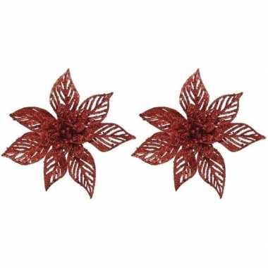 2x kerstboomversiering op clip rode glitter bloem 23 x 5 cm