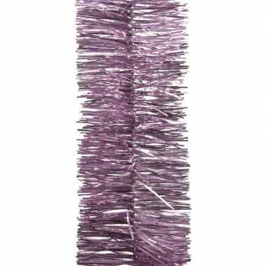 2x lila paarse kerstversiering folie slinger 270 cm