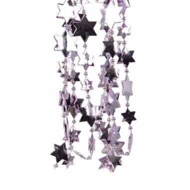 2x lila paarse kerstversiering ster kralenslinger 270 cm