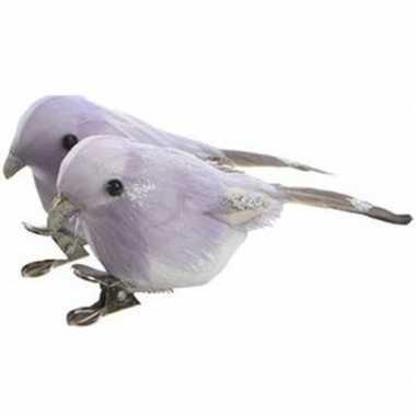 2x lila vogels kerstversiering clip versierings 4 cm