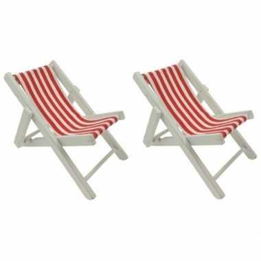 2x maritieme versiering strandstoelen rood