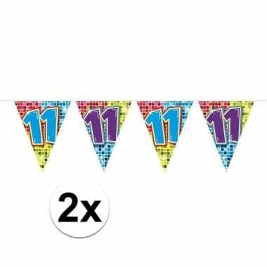 2x mini vlaggenlijn / slinger verjaardag versiering 11 jaar