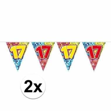2x mini vlaggenlijn / slinger verjaardag versiering 17 jaar