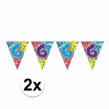 2x mini vlaggenlijn / slinger verjaardag versiering 6 jaar