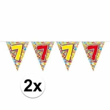 2x mini vlaggenlijn / slinger verjaardag versiering 7 jaar