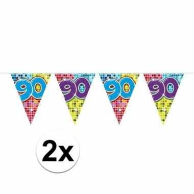2x mini vlaggenlijn / slinger verjaardag versiering 90 jaar