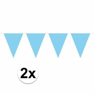 2x mini vlaggenlijn / slinger versiering baby blauw