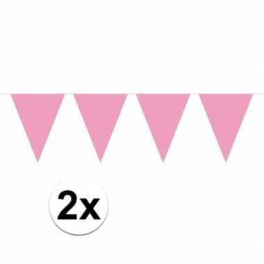 2x mini vlaggenlijn / slinger versiering baby roze