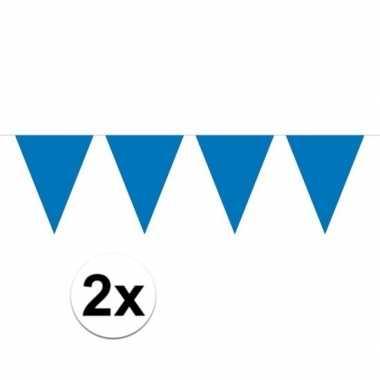 2x mini vlaggenlijn / slinger versiering blauw
