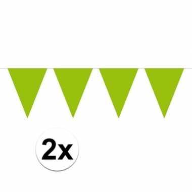 2x mini vlaggenlijn / slinger versiering lime groen