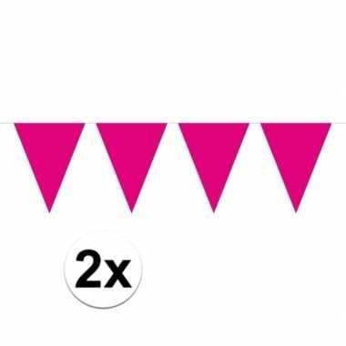 2x mini vlaggenlijn / slinger versiering magenta roze