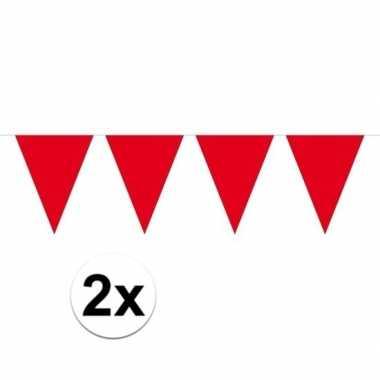 2x mini vlaggenlijn / slinger versiering rood