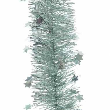 2x mint groene kerstversiering folie slinger met ster 270 cm