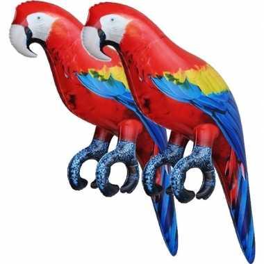 2x opblaasbare ara papegaaien vogels 25 cm versiering/speelgoed