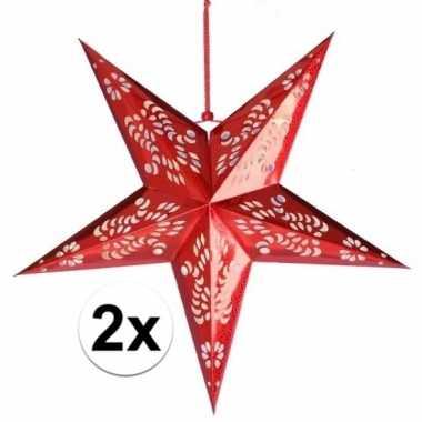 2x rode versiering sterren 60 cm