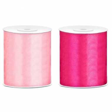 2x rollen hobby versiering satijnlint licht roze fuchsia roze 10 cm x 25 meter