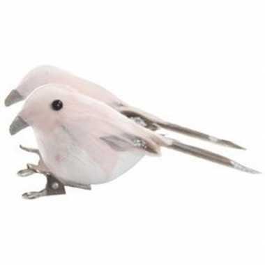 2x roze vogels kerstversiering clip versierings 4 cm