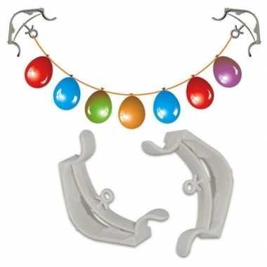 2x slingers/versiering ophangen hoekklemmen wit