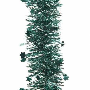 2x smaragd groene kerstversiering folie slinger met ster 270 cm