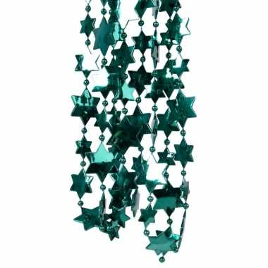 2x smaragd groene kerstversiering ster kralenslinger 270 cm