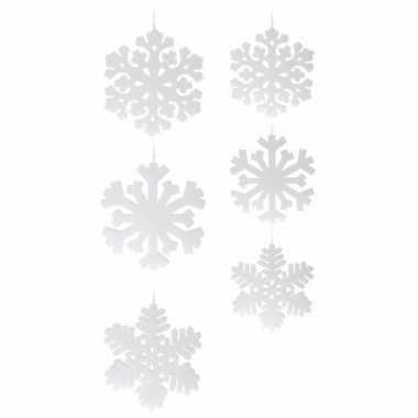 2x sneeuwvlok hangversiering versiering wit