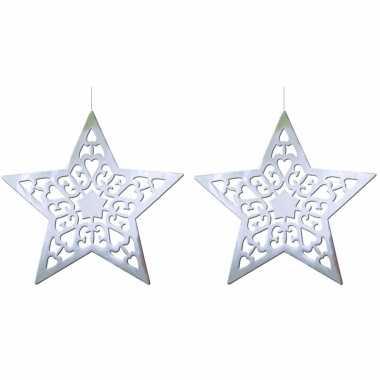 2x stuks kerstster versiering zilver 50 cm