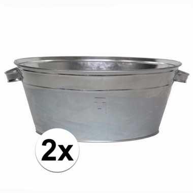 2x tuinversiering zilveren wasteilen 11l