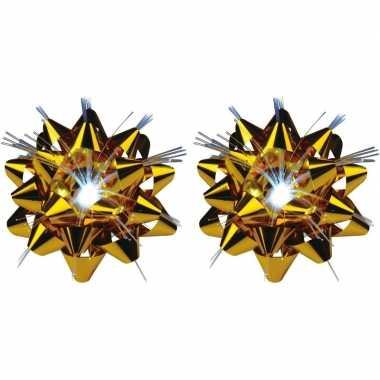 2x versiering kadostrikken goud met lichtje