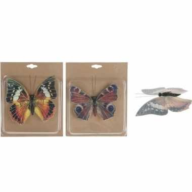 2x versiering vlinders op clip 17 cm