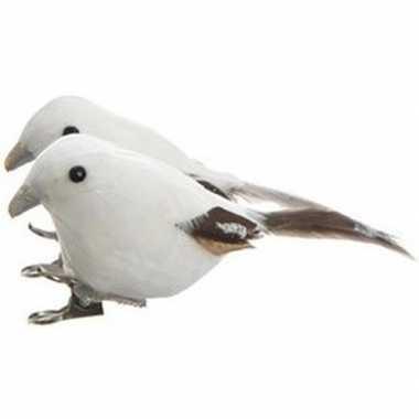 2x witte vogels kerstversiering clip versierings 4 cm
