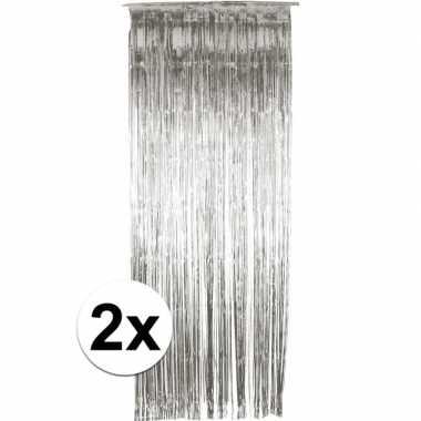 2x zilver versiering deurgordijn
