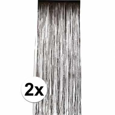 2x zwart versiering deurgordijn