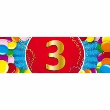 3 jaar leeftijd sticker 19 x 6 cm verjaardag versiering